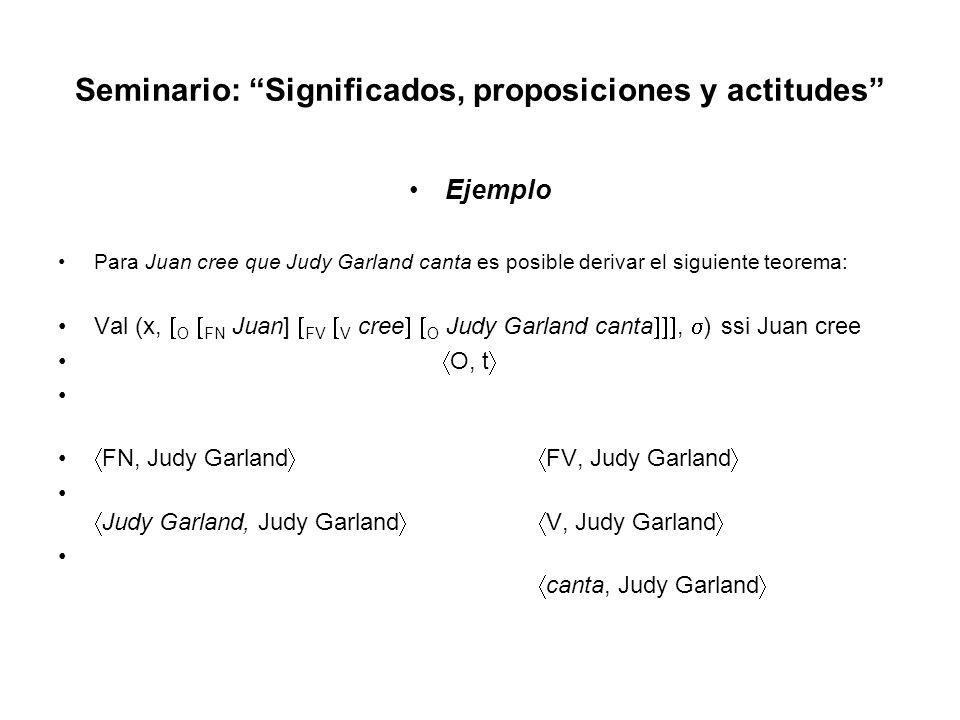 Seminario: Significados, proposiciones y actitudes Ejemplo Para Juan cree que Judy Garland canta es posible derivar el siguiente teorema: Val (x, O FN