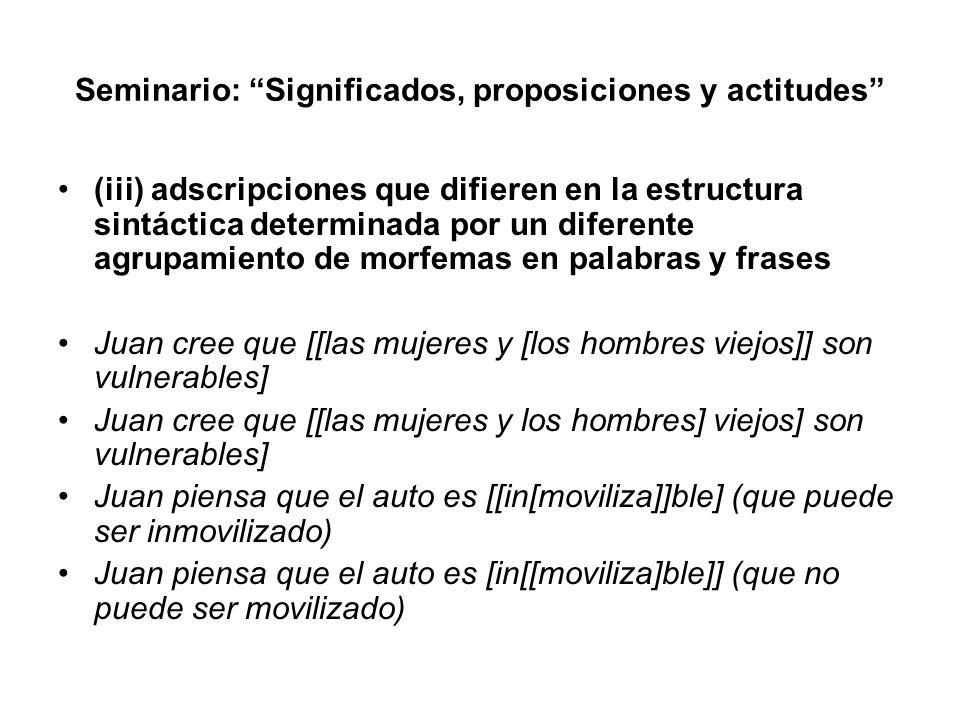 Seminario: Significados, proposiciones y actitudes (iii) adscripciones que difieren en la estructura sintáctica determinada por un diferente agrupamie