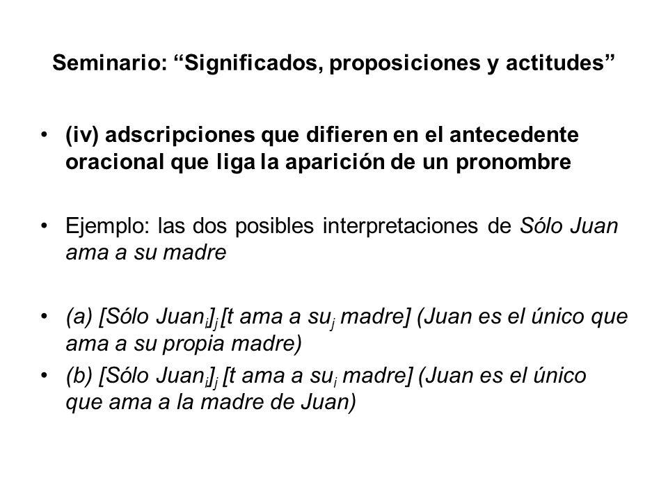 Seminario: Significados, proposiciones y actitudes (iv) adscripciones que difieren en el antecedente oracional que liga la aparición de un pronombre E