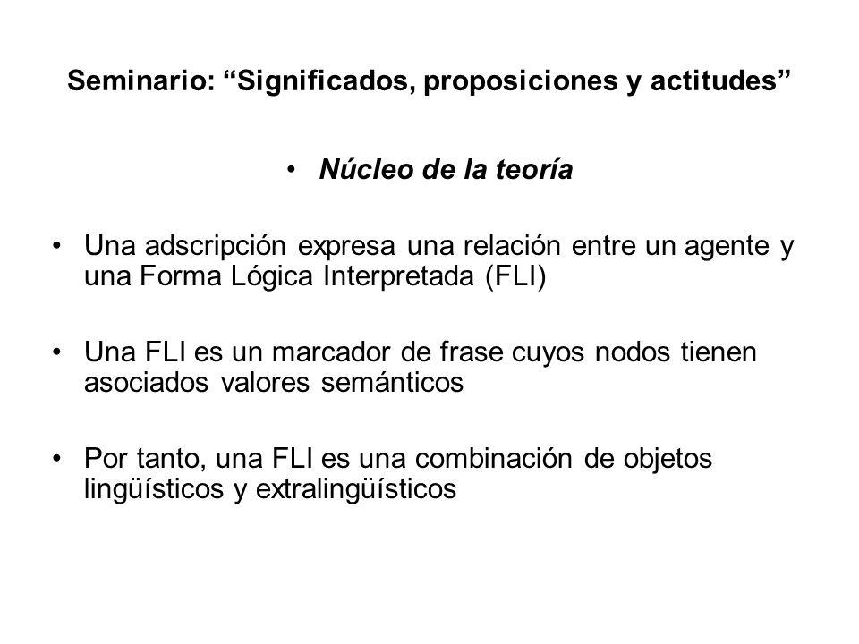 Seminario: Significados, proposiciones y actitudes Núcleo de la teoría Una adscripción expresa una relación entre un agente y una Forma Lógica Interpr