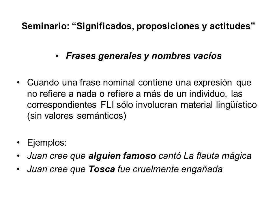 Seminario: Significados, proposiciones y actitudes Frases generales y nombres vacíos Cuando una frase nominal contiene una expresión que no refiere a