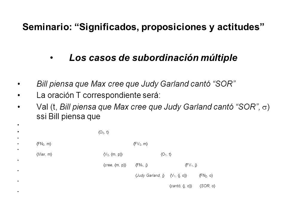 Seminario: Significados, proposiciones y actitudes Los casos de subordinación múltiple Bill piensa que Max cree que Judy Garland cantó SOR La oración