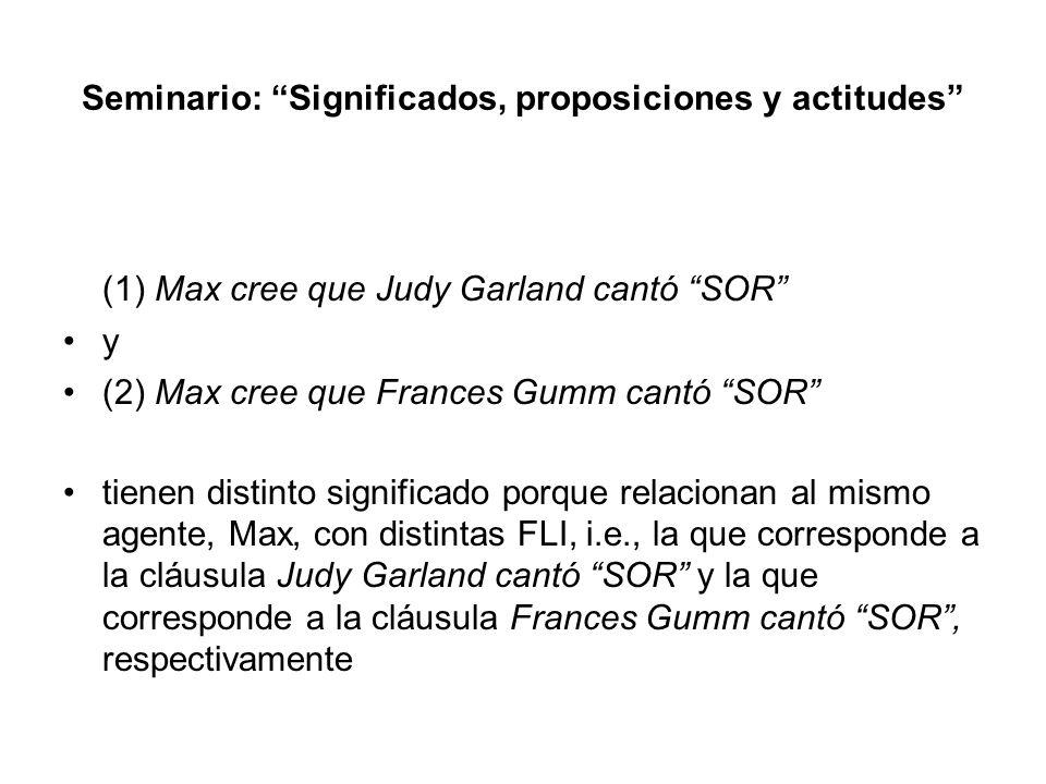 Seminario: Significados, proposiciones y actitudes (1) Max cree que Judy Garland cantó SOR y (2) Max cree que Frances Gumm cantó SOR tienen distinto s