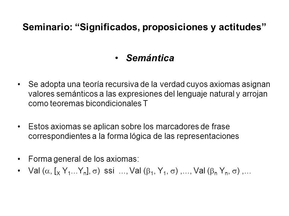 Seminario: Significados, proposiciones y actitudes Ejemplos de axiomas y de cómo se deriva un teorema en la teoría a.Val (t, [ S NP VP], ) iff for some x, Val (x, NP, ) and Val (x, VP, ) b.Val (x, [ NP Judy Garland], ) iff x = Judy Garland c.Val (x, [ VP V], ) iff Val (x, V, ) d.Val (x, [ V sings], ) iff x sings Usando estos axiomas es posible probar una oración T para Judy Garland sings Los bicondicionales nos permiten derivar (a); la sustitución de idénticos arroja la oración T final (b): a.Val (t, [ S [ NP Judy Garland] [ VP [ V sings]], ) ifffor some x, x = Judy Garland and x sings b.Val (t, [ S [ NP Judy Garland] [ VP [ V sings]], ) iff Judy Garland sings