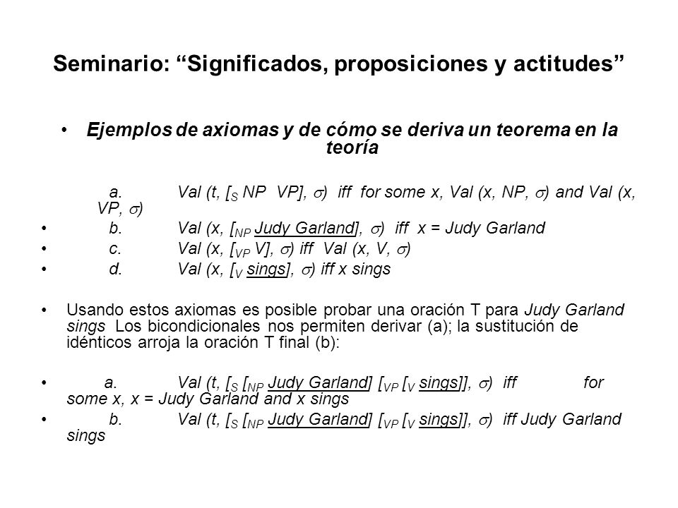 Seminario: Significados, proposiciones y actitudes Ejemplos de axiomas y de cómo se deriva un teorema en la teoría a.Val (t, [ S NP VP], ) iff for som