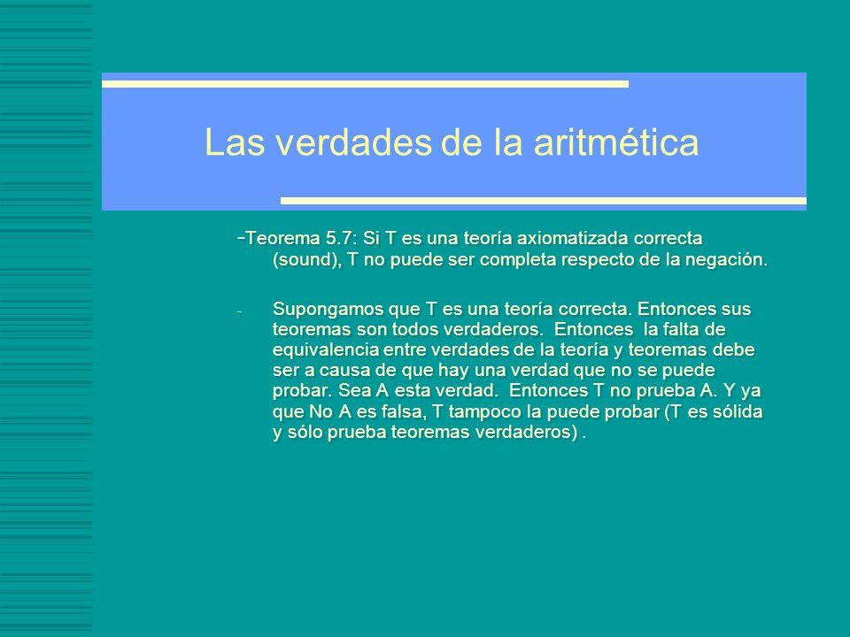 Las verdades de la aritmética - Teorema 5.7: Si T es una teoría axiomatizada correcta (sound), T no puede ser completa respecto de la negación.