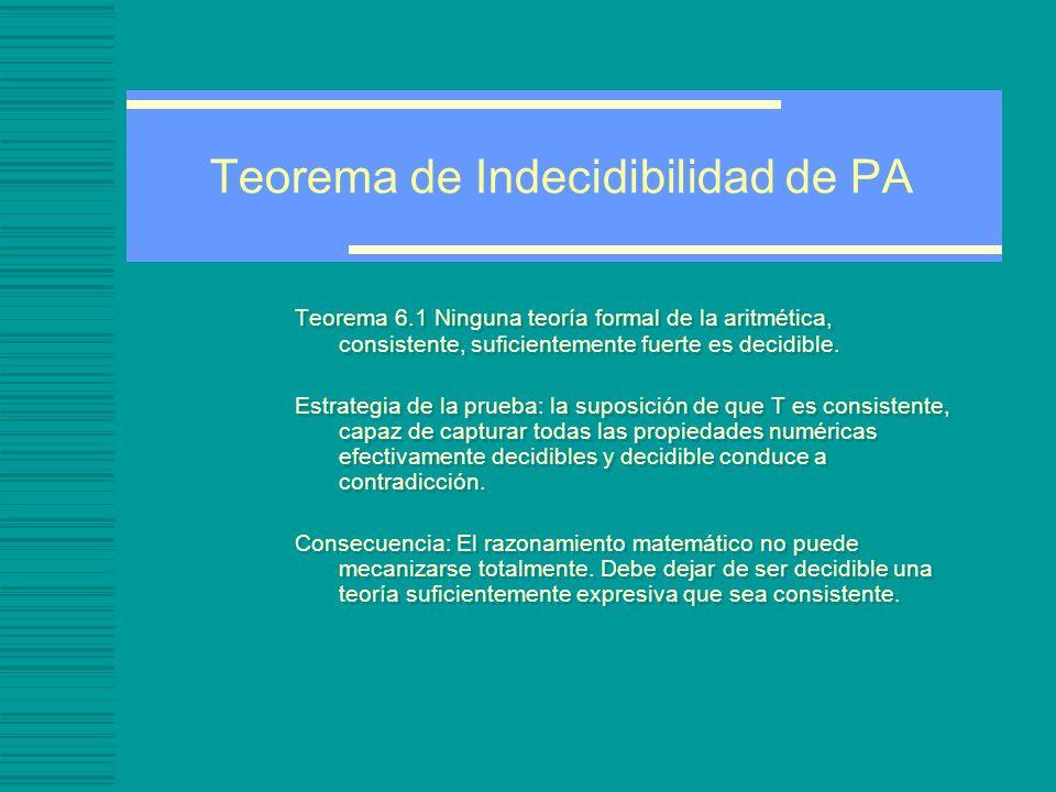 Teorema de Indecidibilidad de PA Teorema 6.1 Ninguna teoría formal de la aritmética, consistente, suficientemente fuerte es decidible.