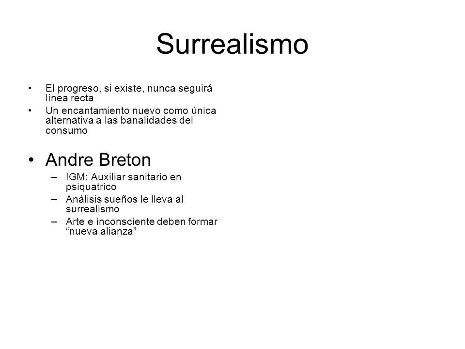 Surrealismo El progreso, si existe, nunca seguirá línea recta Un encantamiento nuevo como única alternativa a las banalidades del consumo Andre Breton