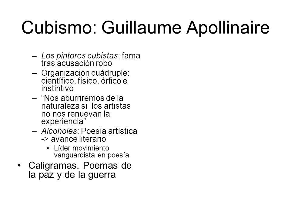 Cubismo: Guillaume Apollinaire –Los pintores cubistas: fama tras acusación robo –Organización cuádruple: científico, físico, órfico e instintivo –Nos