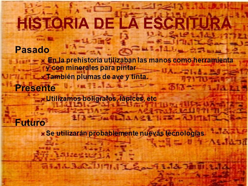 HISTORIA DE LA ESCRITURA Pasado En la prehistoria utilizaban las manos como herramienta y con minerales para pintar También plumas de ave y tinta. Pre