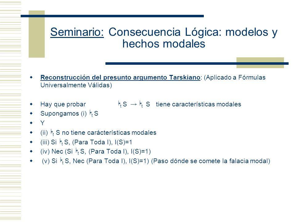 Seminario: Consecuencia Lógica: modelos y hechos modales Posición de Mario Gómez Torrente (no hay argumento): (1) Los giros modales (must) tienen que ser interpretados como afirmaciones acerca del máximo nivel de generalidad: Vale para todas las instancias de cierto tipo.