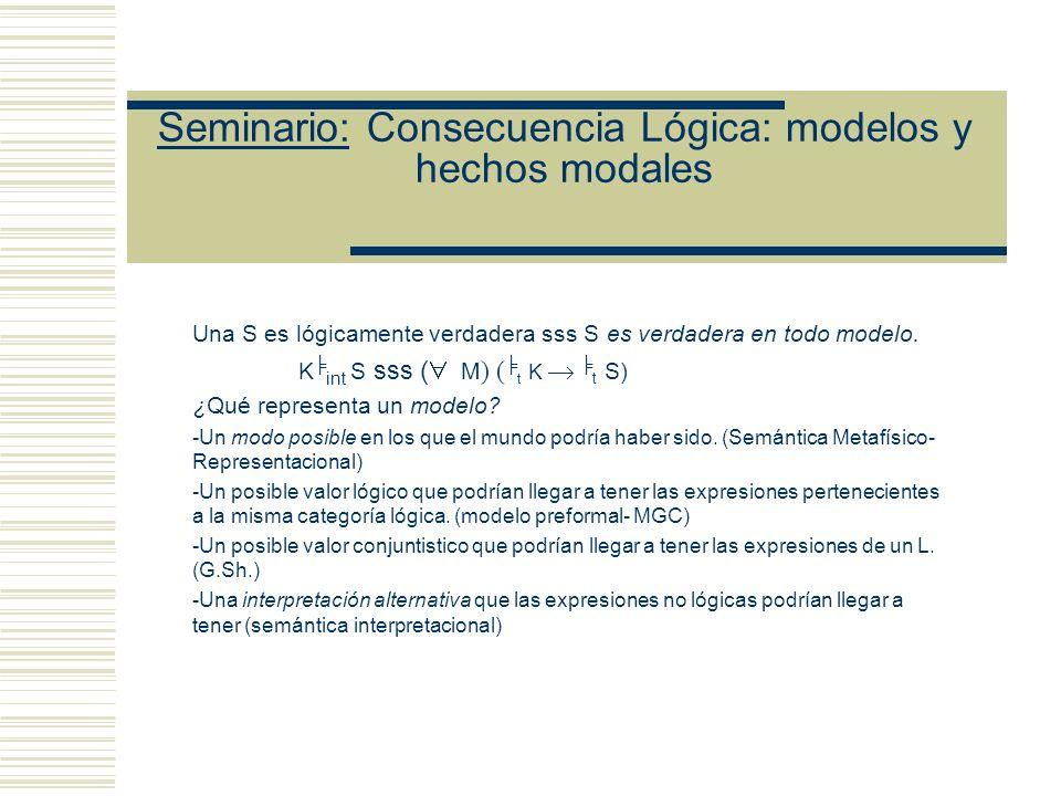 Seminario: Consecuencia Lógica: modelos y hechos modales Una S es lógicamente verdadera sss S es verdadera en todo modelo.