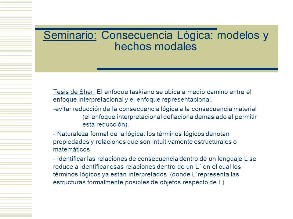 Seminario: Consecuencia Lógica: modelos y hechos modales Tesis de Sher: Para toda modo de interpretar los lenguajes que Tarski tomó en cuenta, hay una interpretación conjuntista isomófica a ella.
