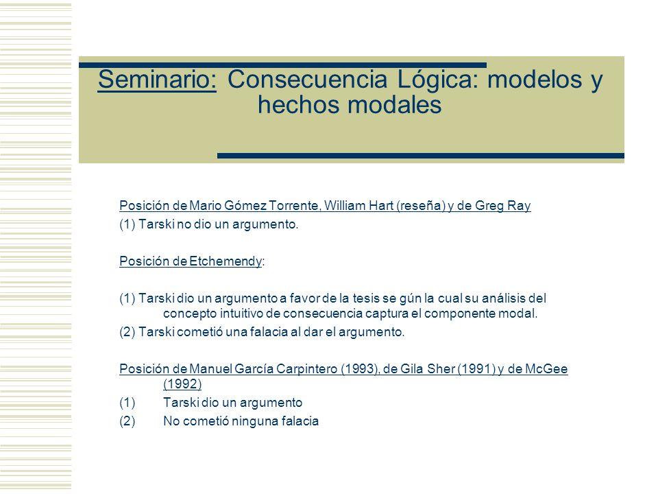 Seminario: Consecuencia Lógica: modelos y hechos modales Posición de Mario Gómez Torrente, William Hart (reseña) y de Greg Ray (1) Tarski no dio un argumento.