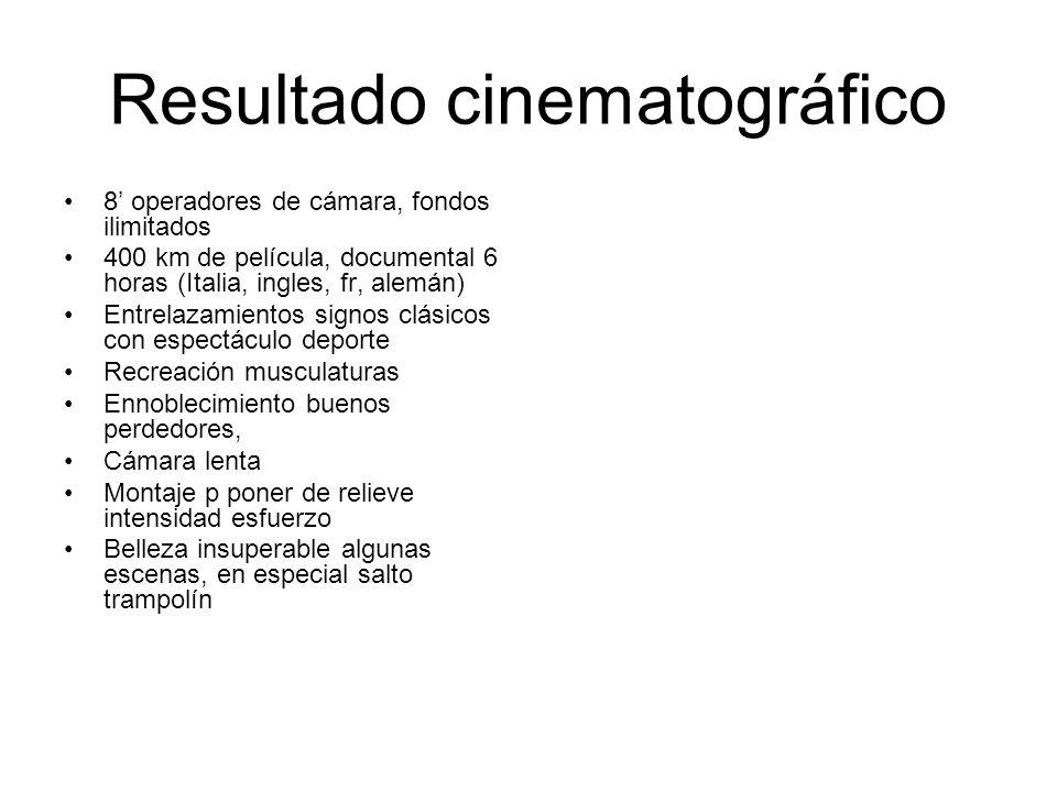 Resultado cinematográfico 8 operadores de cámara, fondos ilimitados 400 km de película, documental 6 horas (Italia, ingles, fr, alemán) Entrelazamient
