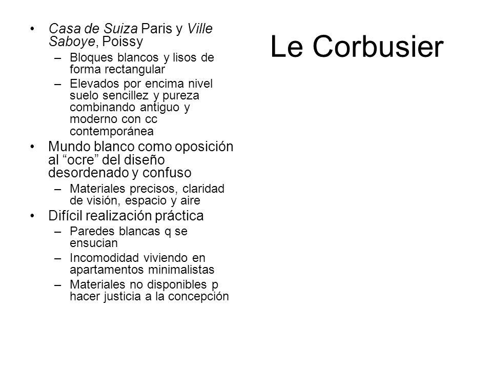 Le Corbusier Casa de Suiza Paris y Ville Saboye, Poissy –Bloques blancos y lisos de forma rectangular –Elevados por encima nivel suelo sencillez y pur