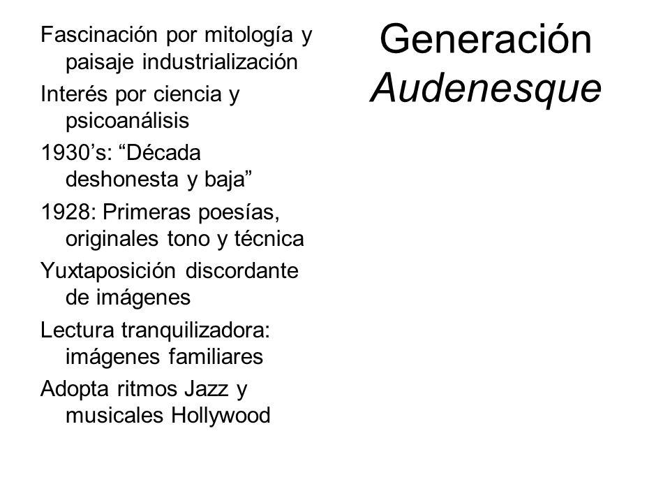 Generación Audenesque Fascinación por mitología y paisaje industrialización Interés por ciencia y psicoanálisis 1930s: Década deshonesta y baja 1928: