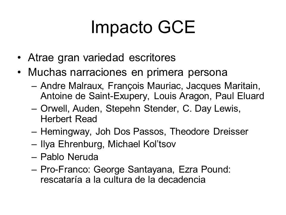 Impacto GCE Atrae gran variedad escritores Muchas narraciones en primera persona –Andre Malraux, François Mauriac, Jacques Maritain, Antoine de Saint-