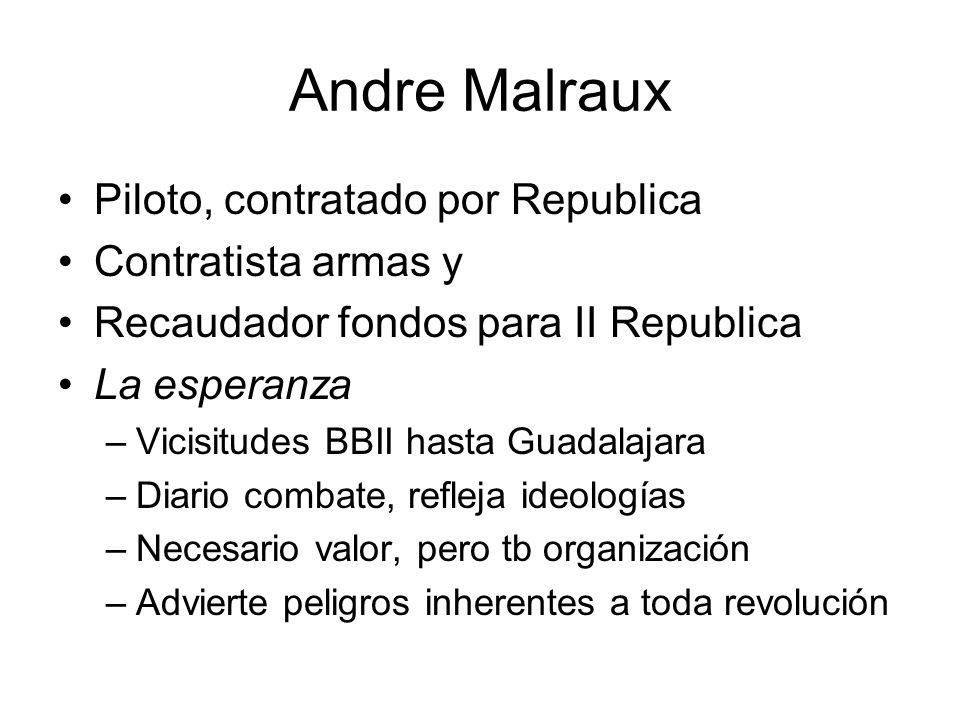 Andre Malraux Piloto, contratado por Republica Contratista armas y Recaudador fondos para II Republica La esperanza –Vicisitudes BBII hasta Guadalajar