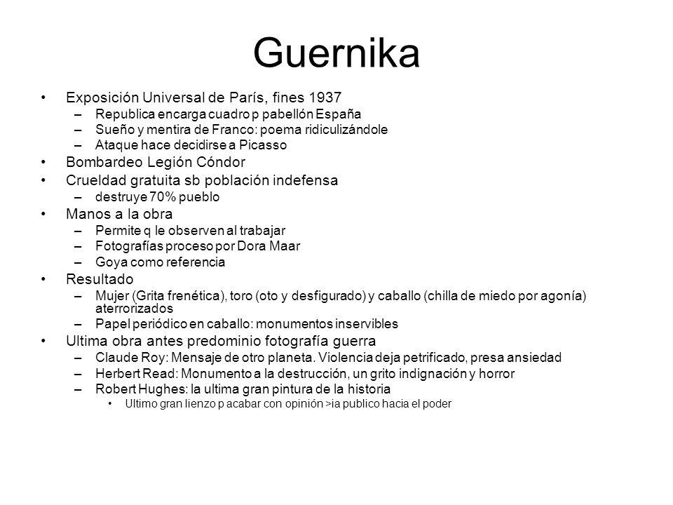 Guernika Exposición Universal de París, fines 1937 –Republica encarga cuadro p pabellón España –Sueño y mentira de Franco: poema ridiculizándole –Ataq