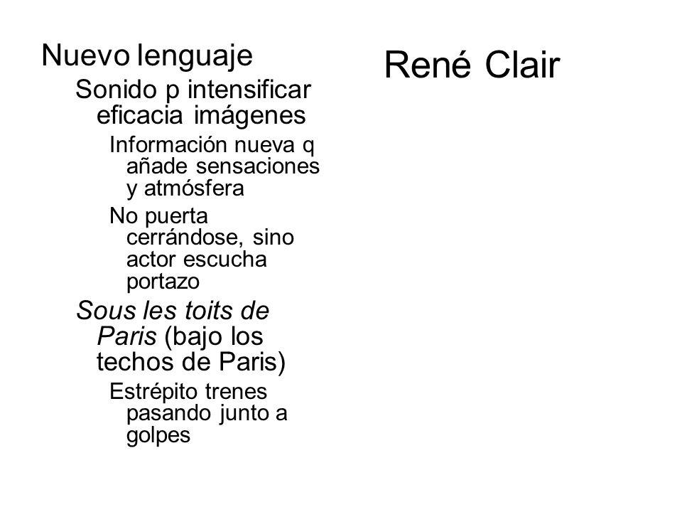 René Clair Nuevo lenguaje Sonido p intensificar eficacia imágenes Información nueva q añade sensaciones y atmósfera No puerta cerrándose, sino actor e