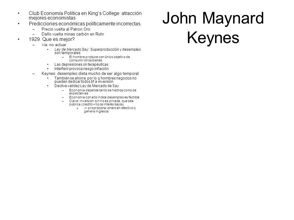 John Maynard Keynes Club Economía Politica en Kings College: atracción mejores economistas Predicciones económicas políticamente incorrectas –Precio v