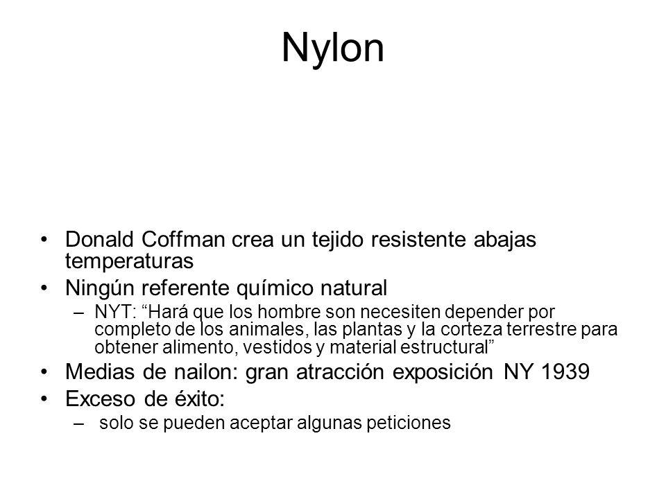 Nylon Donald Coffman crea un tejido resistente abajas temperaturas Ningún referente químico natural –NYT: Hará que los hombre son necesiten depender p