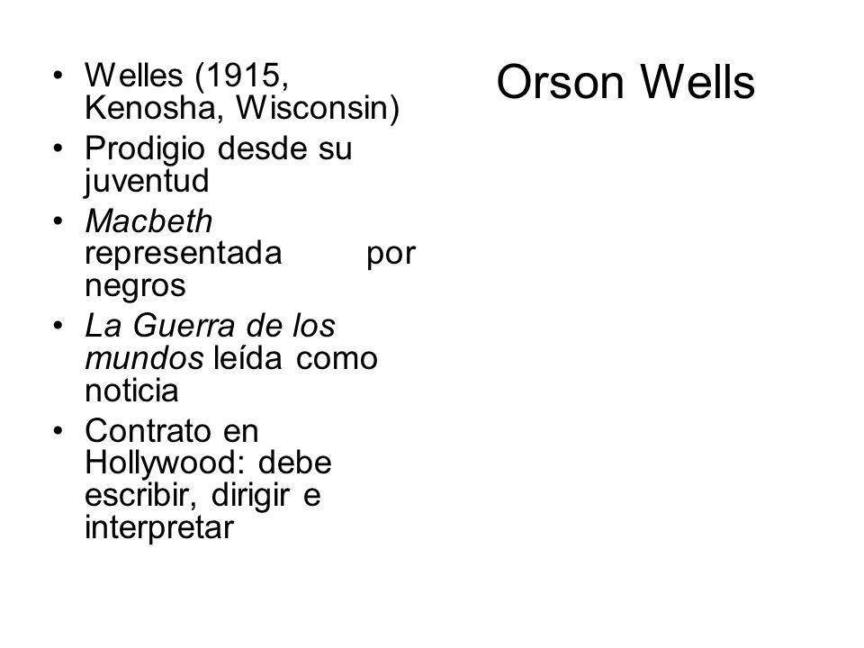 Orson Wells Welles (1915, Kenosha, Wisconsin) Prodigio desde su juventud Macbeth representada por negros La Guerra de los mundos leída como noticia Co