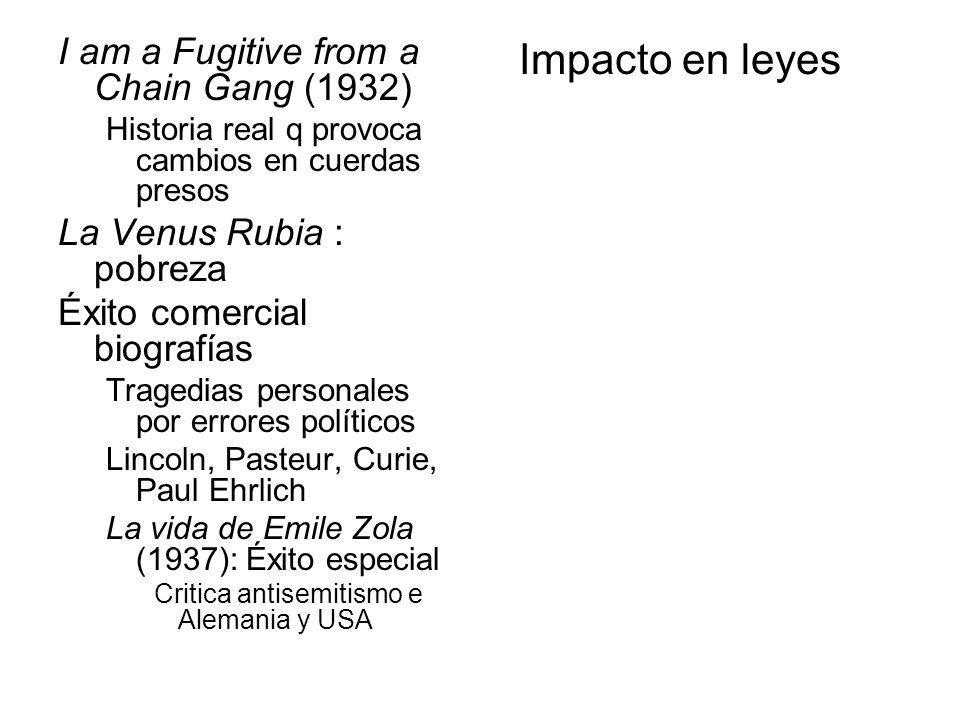 Impacto en leyes I am a Fugitive from a Chain Gang (1932) Historia real q provoca cambios en cuerdas presos La Venus Rubia : pobreza Éxito comercial b