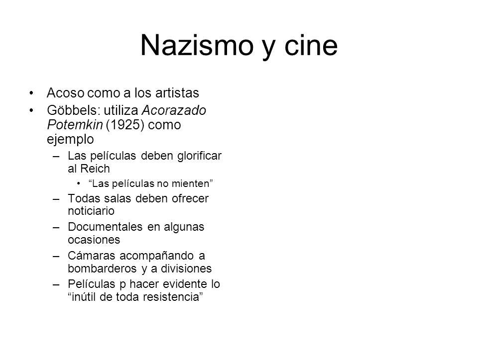 Nazismo y cine Acoso como a los artistas Göbbels: utiliza Acorazado Potemkin (1925) como ejemplo –Las películas deben glorificar al Reich Las película