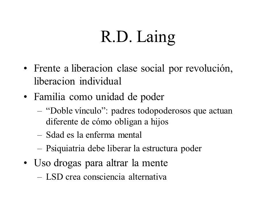 R.D. Laing Frente a liberacion clase social por revolución, liberacion individual Familia como unidad de poder –Doble vínculo: padres todopoderosos qu