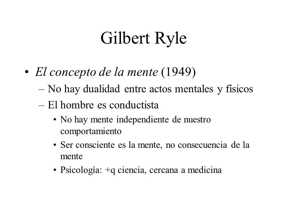 Gilbert Ryle El concepto de la mente (1949) –No hay dualidad entre actos mentales y físicos –El hombre es conductista No hay mente independiente de nu