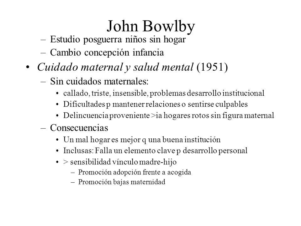 John Bowlby –Estudio posguerra niños sin hogar –Cambio concepción infancia Cuidado maternal y salud mental (1951) –Sin cuidados maternales: callado, t