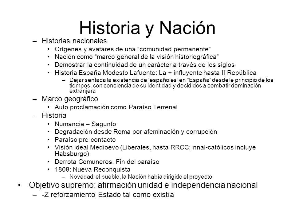 Historia y Nación –Historias nacionales Orígenes y avatares de una comunidad permanente Nación como marco general de la visión historiográfica Demostr