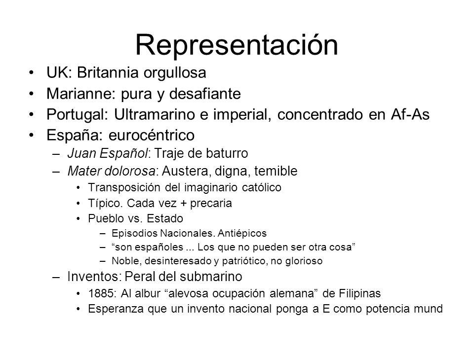 Representación UK: Britannia orgullosa Marianne: pura y desafiante Portugal: Ultramarino e imperial, concentrado en Af-As España: eurocéntrico –Juan E