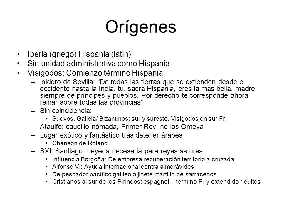 Orígenes Iberia (griego) Hispania (latin) Sin unidad administrativa como Hispania Visigodos: Comienzo término Hispania –Isidoro de Sevilla: De todas l