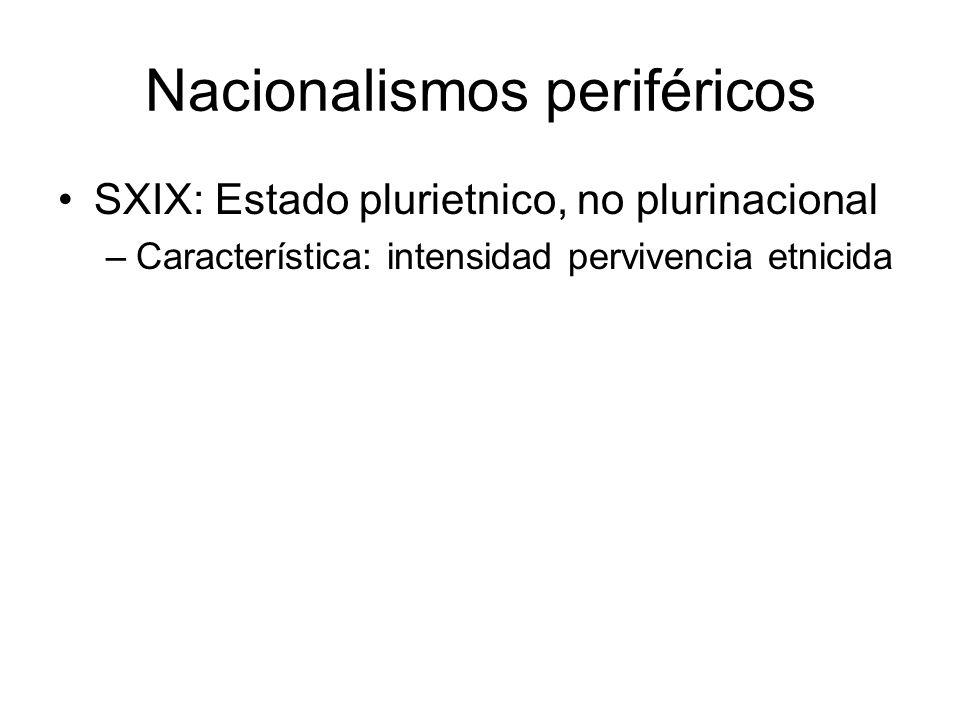 Nacionalismos periféricos SXIX: Estado plurietnico, no plurinacional –Característica: intensidad pervivencia etnicida
