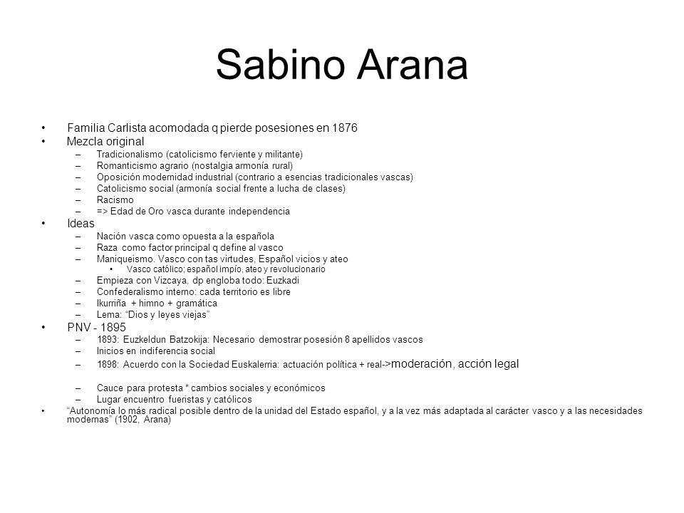 Sabino Arana Familia Carlista acomodada q pierde posesiones en 1876 Mezcla original –Tradicionalismo (catolicismo ferviente y militante) –Romanticismo