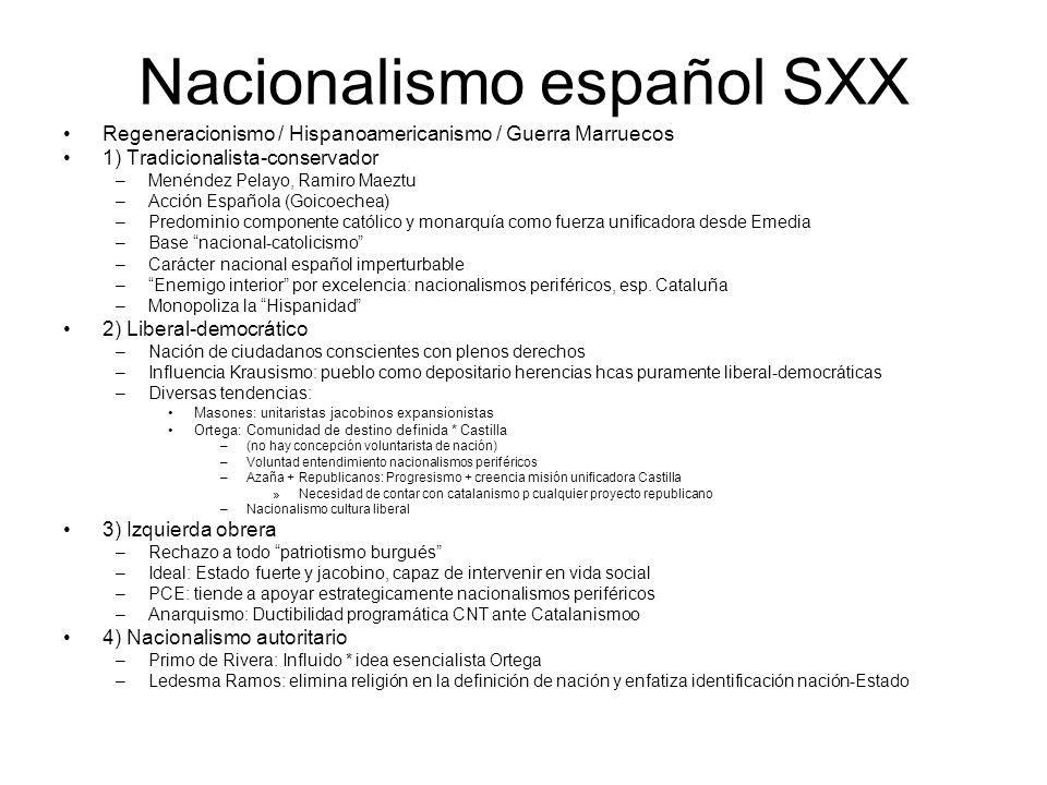 Nacionalismo español SXX Regeneracionismo / Hispanoamericanismo / Guerra Marruecos 1) Tradicionalista-conservador –Menéndez Pelayo, Ramiro Maeztu –Acc