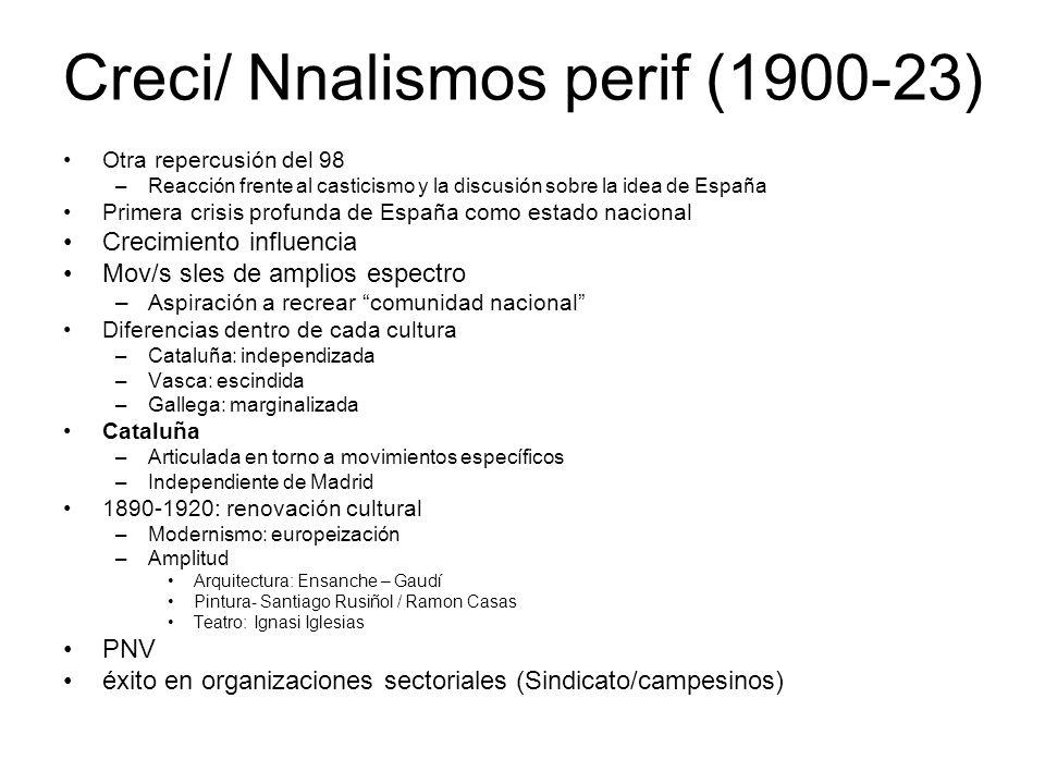 Creci/ Nnalismos perif (1900-23) Otra repercusión del 98 –Reacción frente al casticismo y la discusión sobre la idea de España Primera crisis profunda