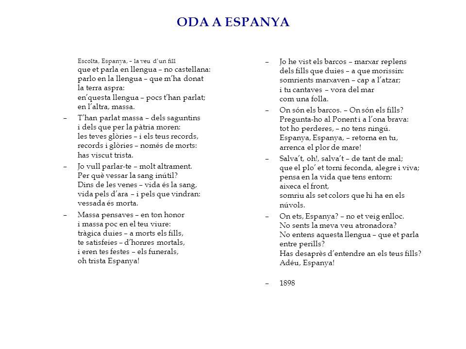 ODA A ESPANYA Escolta, Espanya, – la veu dun fill que et parla en llengua – no castellana: parlo en la llengua – que mha donat la terra aspra: enquest
