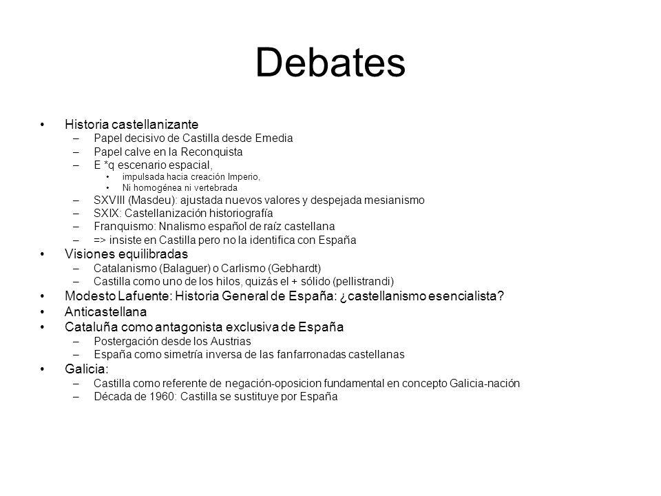 Debates Historia castellanizante –Papel decisivo de Castilla desde Emedia –Papel calve en la Reconquista –E *q escenario espacial, impulsada hacia cre