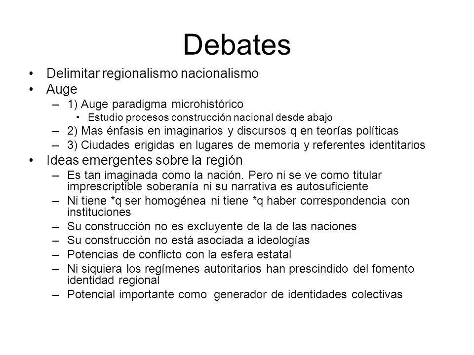 Debates Delimitar regionalismo nacionalismo Auge –1) Auge paradigma microhistórico Estudio procesos construcción nacional desde abajo –2) Mas énfasis