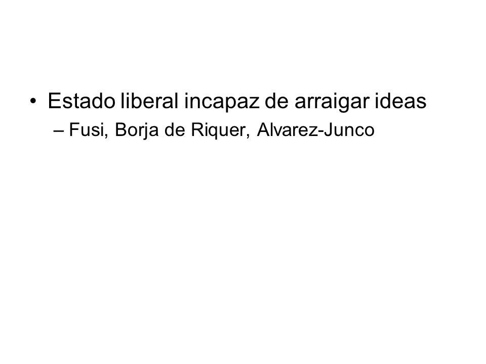 Estado liberal incapaz de arraigar ideas –Fusi, Borja de Riquer, Alvarez-Junco