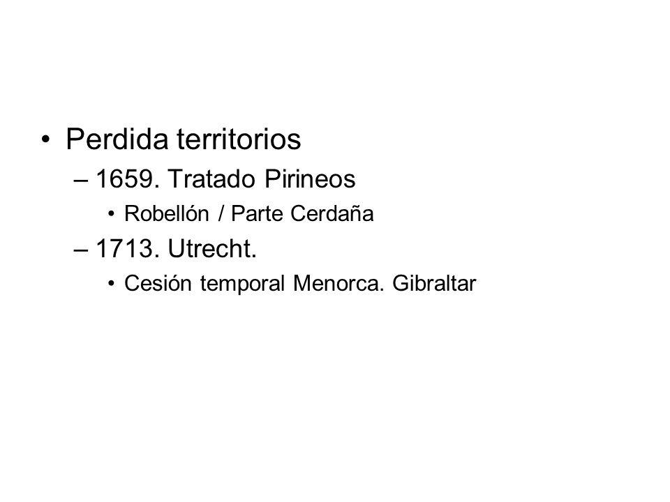 Perdida territorios –1659. Tratado Pirineos Robellón / Parte Cerdaña –1713. Utrecht. Cesión temporal Menorca. Gibraltar