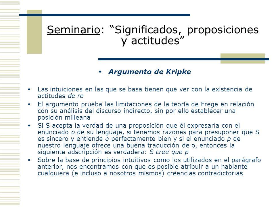 Seminario: Significados, proposiciones y actitudes Punto de vista de Frege: asimilación a la figuración vulgar Los casos de opacidad son en realidad casos de ambigüedad: los términos ocupan posiciones referenciales no canónicas o standard.