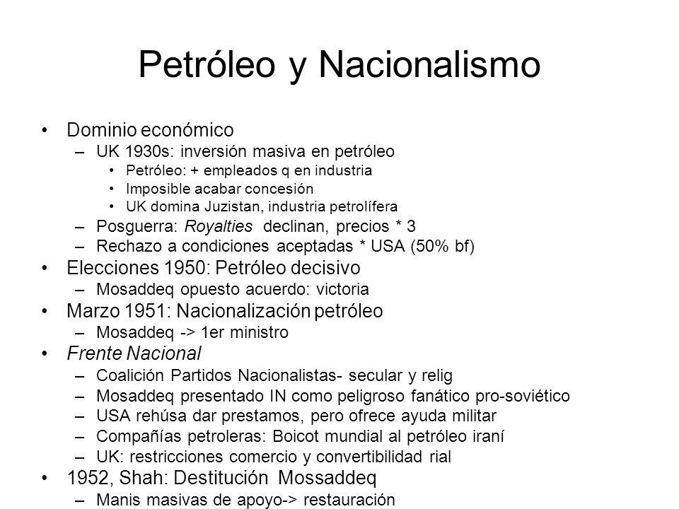 Petróleo y Nacionalismo Dominio económico –UK 1930s: inversión masiva en petróleo Petróleo: + empleados q en industria Imposible acabar concesión UK d