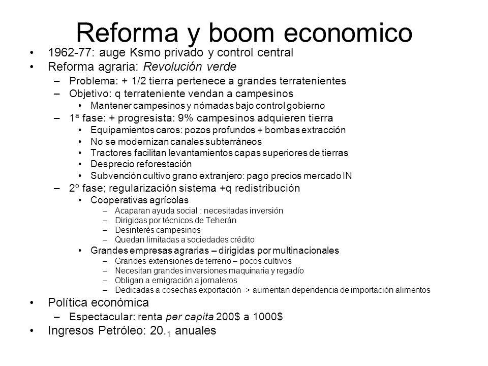 Reforma y boom economico 1962-77: auge Ksmo privado y control central Reforma agraria: Revolución verde –Problema: + 1/2 tierra pertenece a grandes te