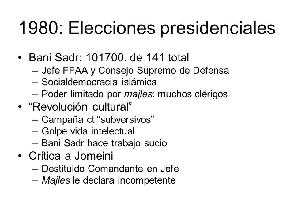 1980: Elecciones presidenciales Bani Sadr: 101700. de 141 total –Jefe FFAA y Consejo Supremo de Defensa –Socialdemocracia islámica –Poder limitado por