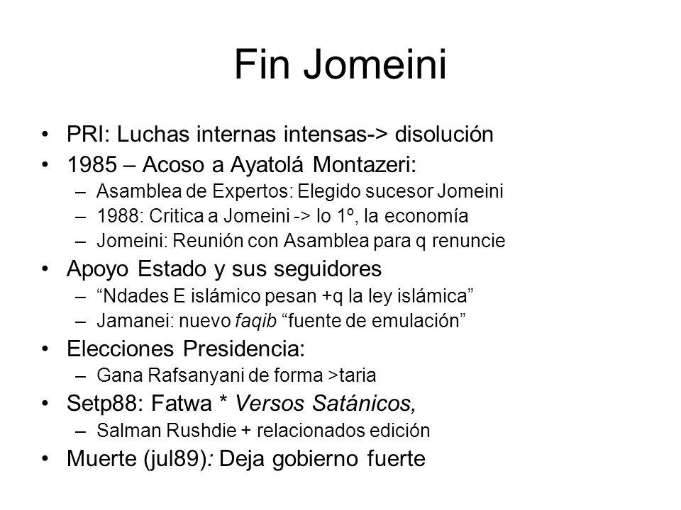 Fin Jomeini PRI: Luchas internas intensas-> disolución 1985 – Acoso a Ayatolá Montazeri: –Asamblea de Expertos: Elegido sucesor Jomeini –1988: Critica